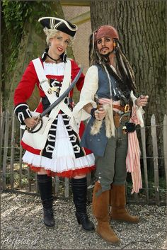 Captain Jack Sparrow and lady Redcoat.  Jack Sparrow costume made by Fairy-Tailor Photo: Henk Ros Artfotos.nl