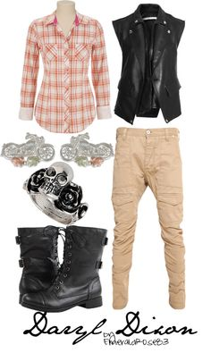 """""""The Walking Dead - Daryl Dixon"""" by emeraldrose83 on Polyvore Walking Dead Clothes, The Walking Dead, Zombie Apocalypse Outfit, Fandom Outfits, Fandom Fashion, Casual Cosplay, Dead Inside, Pink Long Sleeve Tops, Character Outfits"""