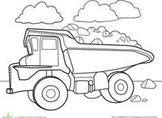 Kindergarten Preschool Vehicles Worksheets Color A Car Dump Truck