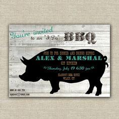 digital file: BBQ invitations, wedding rehearsal dinner, engagement party, birthday, rustic, barn wood, pig. $20.00, via Etsy.