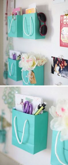 Shopping Bag Supply Holders: Instead of throwing away, you can repurpose those really cute and really strong shopping bags for more storage in teen girls room to corral everything from hair ties to markers.