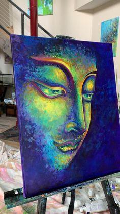Diy Canvas Art, Acrylic Painting Canvas, Large Painting, Budha Painting, Buddha Wall Painting, Krishna Painting, Artist Painting, Buddha Artwork, Buddha Wall Art