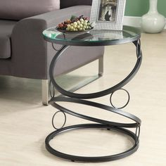 Modern Round End Table Black Metal Glass Side Accent Home Furniture Living Room  #Modern