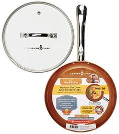 """Tristar Products KC15057-02000 Round Chef Pan with Glass Lid, 10"""", Copper"""