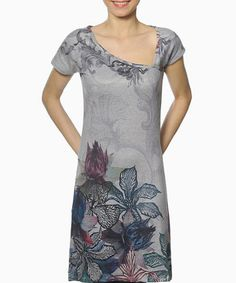 Take a look at this smash! Gray & Blue Elissa Asymmetrical Dress on zulily today!