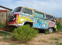 Colorful Modern Photography, Volkswagen Bus, Desert Hippie Decor, VW Bus Car Photography, Vintage Car, Graffiti Wall Art