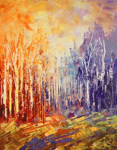 Wizard's Woods by Tatiana iliina, Landscape painting palette knife original forest art birch