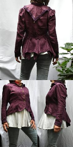 Plum steampunk jacket in vintage Irish linen damask. Aubergine burgundy bordeaux lagenlook top in Victorian Edwardian tailcoat style. Plum Purple, Burgundy, Purple Braids, Steampunk Jacket, Linen Jackets, Jacquard Weave, Military Fashion, Damask, Sleeves