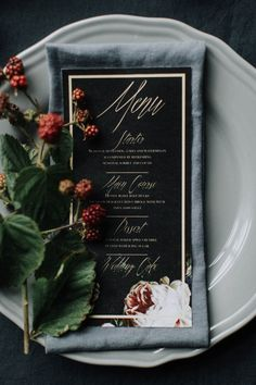 Breathtaking Irish Bridal Inspiration at Leixlip Manor and Gardens Black, pink, and gold dinner menu Wedding Menu Cards, Unique Wedding Invitations, Wedding Paper, Wedding Stationery, Wedding Table, Wedding Reception, Wedding Story, Wedding Tips, Wedding Themes