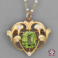 Antique Art Nouveau Peridot Necklace