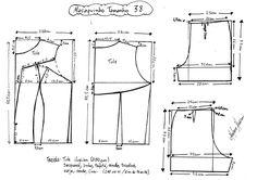 Esquema de modelagem de Macaquinho com Transparência tamanho 38.