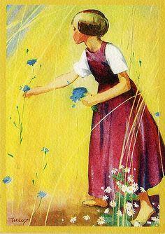 Nordic Thoughts: Golden fields and cornflowers by Martta Wendelin Finland Girl Face Drawing, Scandinavia Design, Art For Art Sake, Children's Book Illustration, Funny Art, Beautiful Artwork, Illustrations Posters, Vintage Illustrations, Vintage Art