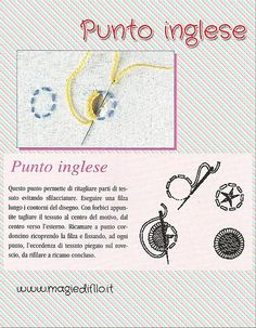 Punto Inglese i punti del ricamo Handkerchief Embroidery, Embroidery Applique, Cross Stitch Embroidery, Punto Smok, Cut Work, Sewing Basics, Punch Needle, Hand Sewing, Sewing Crafts