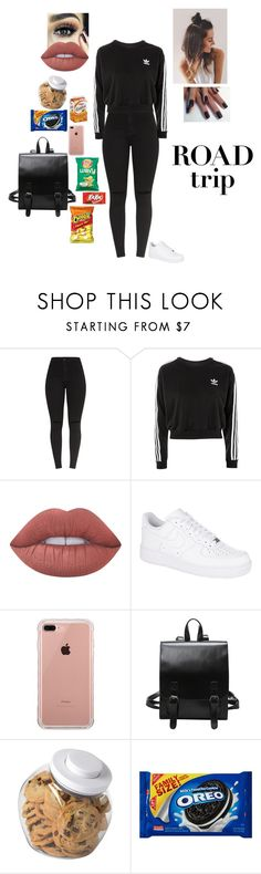 """""""SNACKS + TRIP = ASDFGHJKL"""" by sonialicetmartinez ❤ liked on Polyvore featuring adidas, Lime Crime, NIKE, Belkin and OXO"""
