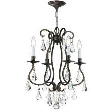 """View the Crystorama Lighting Group 5014-CL-MWP Ashton 4 Light 16"""" Wide Steel Candle Style Mini Chandelier with Clear Hand Cut Crystal at LightingDirect.com."""