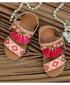 95484d2e22ec Buy D Chica Pink Gypsy Sandals With Tassels   Pom Pom online