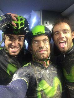 Tour de France 2014. 5^Tappa, 9 luglio. Ypres - Arenberg (Porte Du Hainaut). Ion Izagirre (1989), José Joaquín Rojas (1985) e Alejandro Valverde (1980): insieme in un selfie dopo l'improba fatica...