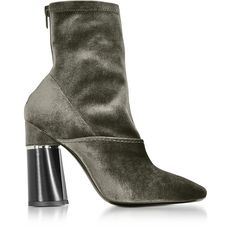 Phillip Lim Kyoto Stretch-velvet Sock Boots In Grey Kitten Heel Boots, High Heel Boots, High Heels, Velvet Socks, Velvet Ankle Boots, Lace Up Booties, Leather Booties, How To Stretch Boots, Discount Shoes