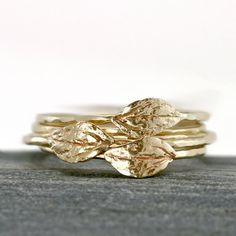 Gold Leaf Ring, 14k Yellow Gold Stacking Ring with Thin Hammered Band and Leaf. $148.00, via Etsy.