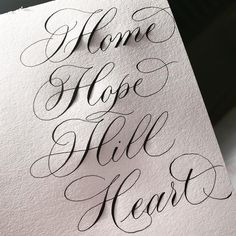 It's been a while since I've shared some flourishing tips. So here I have a few different ways that I like to execute 'H'. The points to… Calligraphy Tutorial, Copperplate Calligraphy, Learn Calligraphy, Calligraphy Letters, Watercolor Lettering, Brush Lettering, Chalk Lettering, Types Of Lettering, Lettering Design