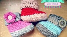 como tejer zapatitos de bebe con gancho crochet - YouTube