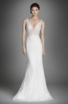 Lazaro LZ3558 - Crystal Embroidered Slip Gown V Neck and Back - Available at Julian Gold Bridal