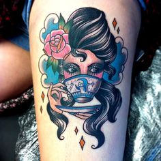 """Tattoo done by Vicky Morgan. Change to brown hair, green eyes and the mug says """"women vote. Dope Tattoos, Girl Tattoos, Mermaid Tattoos, Tatoos, Traditional Tattoo Woman, Traditional Tattoos, Tea Tattoo, Leg Tattoos Women, Epic Tattoo"""