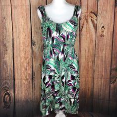 Style & Co. palm print sleeveless dress sz XL asymmetrical hem sundress green    eBay