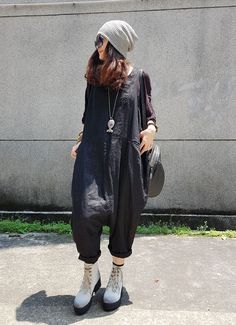 2017 Fall Fashion Cotton Linen Casual Jumpsuits Womans Harem Overalls #overalls #black #linen #harem #jumpsuits #casual #streetstyle #rompers #fashion