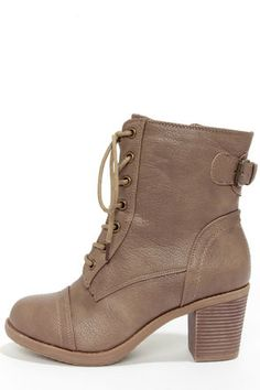 The Wild Diva Lounge Essence 11 Taupe Lace-Up Combat Boots have pebbled taupe vegan leather with a rounded toe cap, plus a belted accent with a bronze buckle. Lace Up Combat Boots, Mid Calf Boots, High Heel Boots, Heeled Boots, Bootie Boots, Shoe Boots, High Heels, Shoes Heels, Boot Heels