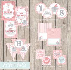 Custom Baby Girl Elephant Birthday Printable by LittleBelleDesign