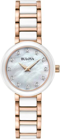Bulova Women's Diamond Accent White Ceramic and Rose Gold-Tone Stainless Steel Bracelet Watch 30mm 98P160