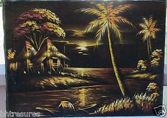 Large Vintage Black Velvet Painting of Hawaiian Landscape in Gold in Art, Paintings Tropical Art, Tropical Style, Tropical Paradise, Tropical Paintings, Unique Paintings, Art Paintings, Velvet Painting, Beachy Colors, Driveway Entrance