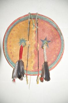 Kiowa-Comanche hide cover-1860. A matching set with its Kiowa-Comanche shield and canvas cover. Probably belonged to a war leader.