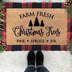 Christmas Tree Farm Doormat, Farm Fresh Christmas Trees doormat, Christmas Tree rug, Christmas Porch
