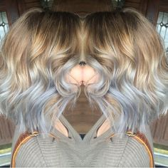 Balayage color melt with silver, gray, platinum tips. Super ashy and smoky
