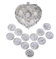 Unidad monedas - Arras de Boda - corazón en forma de pecho caja de boda con cristales de Strass decorativo (plata)