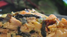 This is a crustless quiche that looks and tastes great. Red Swiss chard makes the quiche very attractive. It would also be good with half the salmon and twice the chard for a different flavor emphasis. Smoked Salmon Quiche, Smoked Salmon Recipes, Poached Salmon, Cooking Swiss Chard, Swiss Chard Recipes, Quiche Recipes, Brunch Recipes, Seafood Recipes, French Appetizers