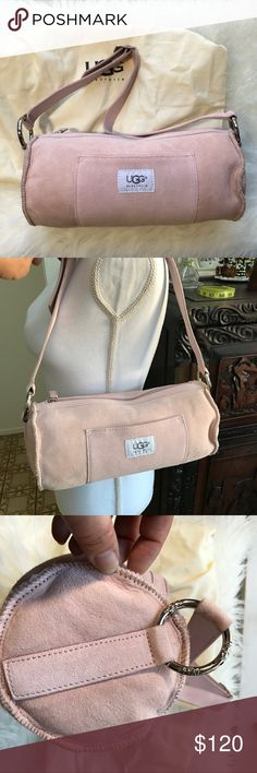 """UGG Barrel Purse in Baby Pink 11x5x7""""/ very rare/ purse drop 10.5"""" but has 2 more slots to lengthen UGG Bags Shoulder Bags"""