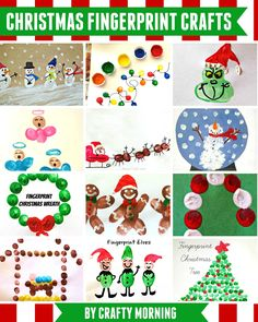 Find many Christmas Fingerprint Crafts to create with your little ones!