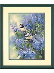 Painting - Chickadees and Lilacs Paint by Number Kit