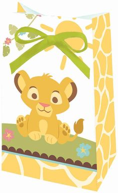 Create smiles on all your baby shower guests when you fill up our Lion King Baby Favor Bags to present at your event!  Favor bags feature a smiling Simba on one side of the bag and a cheerful Simon and Timba on the opposite with a yellow giraffe print along the bottom and edges.  Colorful favor bags measure 1.5 inches deep x 6 inches tall x 3.25 inches wide and come 12 per package.  Green satin ribbons included for tying bags.