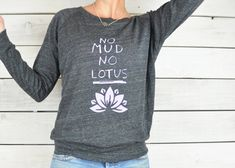 No Mud No Lotus. Black Slouchy Cropped by SuperLoveTees, XL