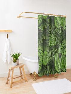 'Jungle leaves' Shower Curtain by Katerina Kirilova Elegant Shower Curtains, Australian Artists, The Row, Vines, Magpie, Promotion, Bathroom, Board, Projects