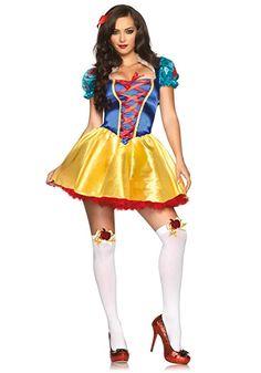 Leg Avenue Women's 2 Piece Fairytale Snow White Costume, Multi, Medium/Large