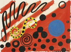 """Spotted S, by Alexander Calder, 1963. Ink and gouache on paper, 223/4 x 303/4"""""""