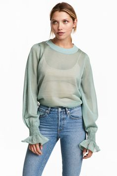 35f5b4898fc70 Transparent Clothing Is Clearly In—Any Thoughts  (WhoWhatWear.com). H m  FashionFashion OutfitsWomens FashionFashion OnlineGreen TopsMint GreenSemi  ...