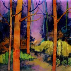 """Lavender Sky"" mixed media abstract collage landscape by Carol Nelson"