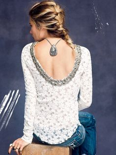 Free People Lace Fancy Low Back Top at Free People Clothing Boutique