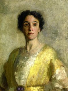 Edmund C. Tarbell (American 1862–1938) [Impressionism, Portrait, The Ten] Lady in Yellow (Mrs. Codman) (1904) Private Collection. – The Athenaeum